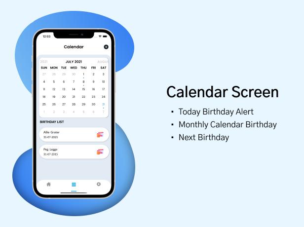 Birthday Calendar Calendar Screen