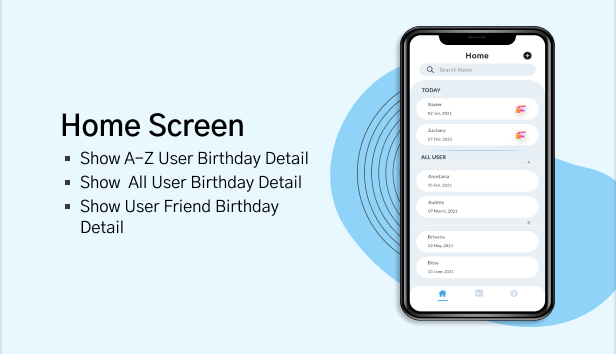 Birthday Calendar Home Screen